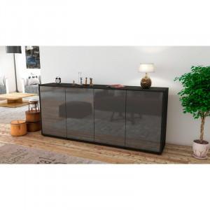 Comoda Elmirasol, PAL, negru / gri lucios, 79 x 180 x 35 cm