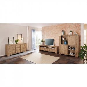 Comoda inalta tip bufet Home Affaire, salcam, 132 x 50 x 157 cm