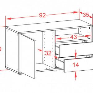 Comoda Tre - antracit/nuc - 49 x 92 x 35 cm