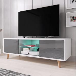 Comoda TV Desert Palms, alb/gri, 140 x 45 x 42 cm