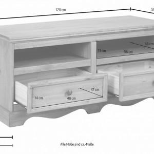 Comoda TV Melissa din lemn masiv de pin alb 120/50/55 cm