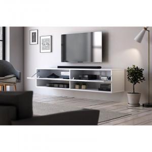 Comoda TV Wescott, 30x140 x31 cm, alb mat / alb negru
