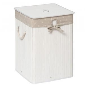 Cos pentru rufe, bambus/bumbac, alb, 50 x 35 x 35 cm
