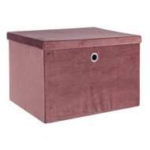 Cutie de depozitare din catifea roz pudra marimea M