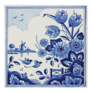 Decor de perete, alb/albastru, 13 x 13 cm