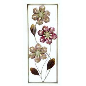 Decor de perete, metal, bej/roz, 75 x 29 cm