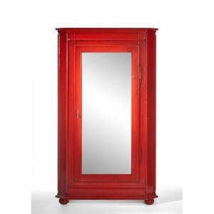 Dulap Battey, lemn masiv, rosu, 195 x 115 x 53 cm