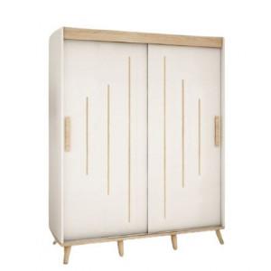 Dulap cu usi glisante Bridgette, alb/maro, 208 x 180 x 62 cm