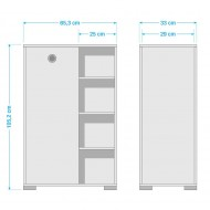 Dulap Kimi I PAL/metal/plastic, alb, 65 x 105 x 33 cm