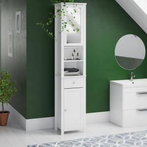 Dulap pentru baie cu oglindă, alb, 190cm H x 40cm W x 30cm D