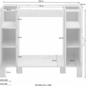 Dulapior pentru cuptor Alby, lemn masiv de pin, maro, 100 x 60 x 83 cm