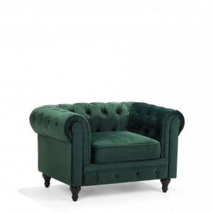 Fotoliu Chesterfeeld, catifea, verde, 110 x 75 x 70 cm