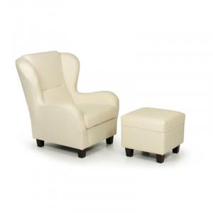 Fotoliu cu scaun pentru picioare Dunmire, textil, bej, 101 x 90 x 92 cm