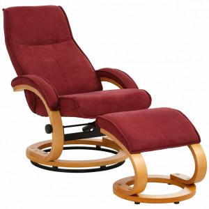 Fotoliu recliner Paris cu taburet otoman, tesatura/lemn, rosu/maro, 67 x 107 x 78 cm