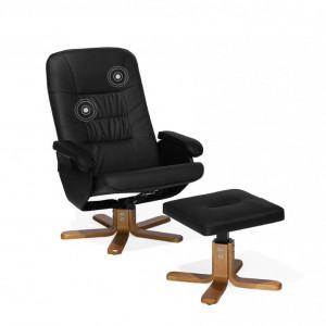 Fotoliu RELAXPRO, cu masaj, lemn/piele ecologica, negru, 70 x 50 x 102 cm