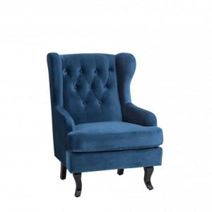 Fotoliu tapitat Alta, catifea, albastru, 72 x 85 x 100 cm