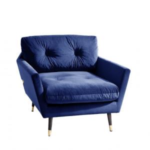 Fotoliu Tomlin, catifea, albastru, 85 x 100 x 89 cm