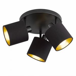 Lustra Anxi fier/tesatura, 3 becuri, negru, diametru 25 cm, 230 V