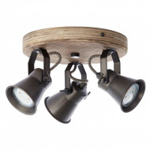 Lustra Seed I fier/material pe baza de lemn, negru/maro, 3 becuri, diametru 28 cm, 230 V