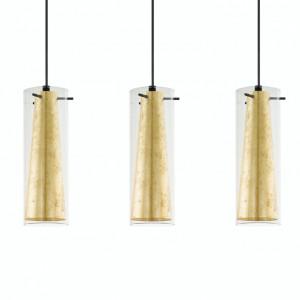 Lustra tip pendul Pinto Gold II otel/sticla, 3 becuri, negru/auriu, 230 V