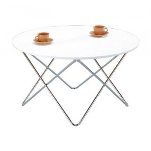 Masă de cafea Highpoint, metal/lemn, alba, 48 x 85 cm