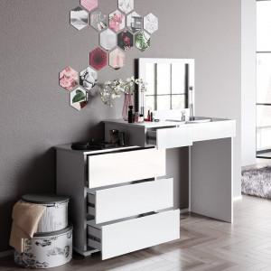 Masa de toaleta Lotus, cu oglinda, alb, 78 x 117,4 x 32,2 cm