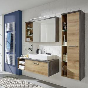 Mobilier de baie Bay, 2 piese, Pal, decor stejar/ beton