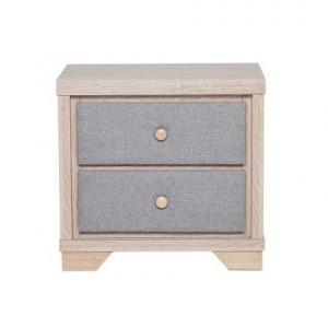 Noptieră cu 2 sertare BERCK, lemn/gri 52 x 40 x 55 cm