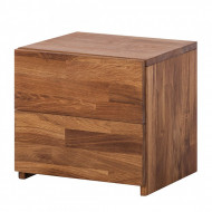 Noptiera ZoeWOOD II lemn masiv de stejar, maro, 40 x 37 x 33 cm