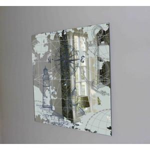 Oglindă cu accent de hartă și busolă, 73cm H x 73cm W x 1cm D