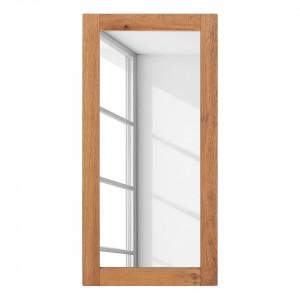 Oglinda Forunas II lemn masiv de stejar/sticla, maro, 50 x 107 x 4 cm