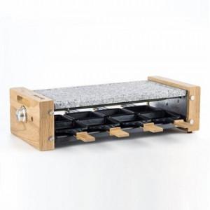 Plita Grill/Raclette electrica H.Koenig WOD2,350 W,plita de piatra detasabila,design in lemn natural,include 4 tigai si 4 spatule