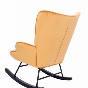 Scaun balansoar Capehart, catifea, negru/portocaliu, 86 x 88 x 69 cm