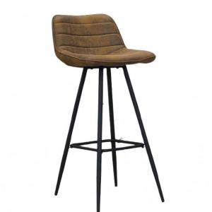 Scaun de bar Peterson, metal, maro/negru, 1010 x 49 x 43 cm