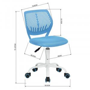 Scaun de birou Valerii, plastic, albastru, 50,5cm L x 50,5cm D x 87cm H