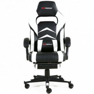 Scaun de gaming GTFORCE Turbo Reclining Sports Racing Gaming Office Desk PC CAR Piele sintetica  ALB
