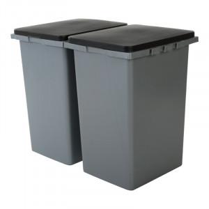 Set 2 coșuri de gunoi, capacitate 45L, plastic