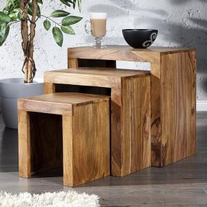 Set 3 mese Juliana Cube din lemn masiv
