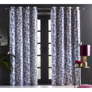 Set de 2 draperii Amelia, indigo, bumbac, 117 x 228 cm