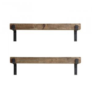 Set de 2 etajere Eckard, metal/lemn, maro, 16 x 40 x 14 cm