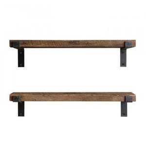 Set de 2 etajere Ecklund, metal/lemn, 16 x 60 x 14 cm