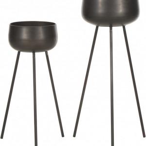 Set de 2 ghivece Chimp, metal, negru