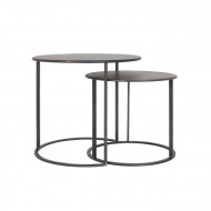Set de 2 mese New City, metal, negre, 54 x 60 x 60 cm