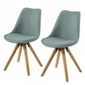 Set de 2 scaune Aledas II cu picioare din lemn masiv, verde menta