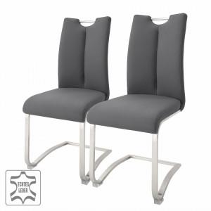 Set de 2 scaune Anamela II - gri - piele naturala