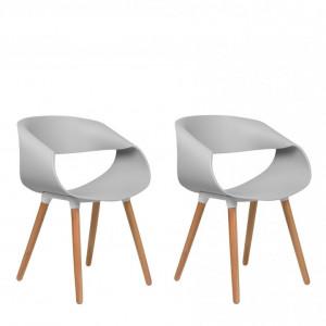 Set de 2 scaune Charlotte, gri/maro, 55 x 53 x 78 cm