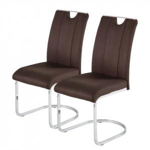 Set de 2 scaune Dalmeny, piele sintetica, maro inchis
