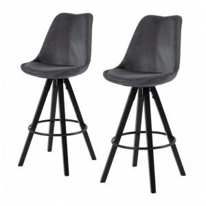 Set de 2 scaune de bar Aledas III, catifea gri inchis