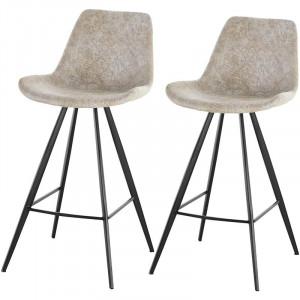 Set de 2 scaune de bar Gully 71cm, piele sintetica