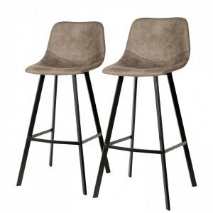 Set de 2 scaune de bar Luhi, gri maro